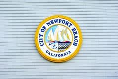 Stad av det Newport strandKalifornien emblemet Arkivfoto