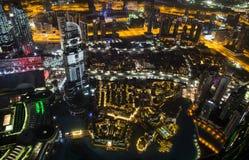 Stad av Dubai från Burj Khalifa Arkivfoto