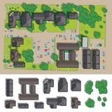 Stad av en bästa sikt från taken, träden, bilarna, huvudvägarna och stadgatan stock illustrationer