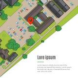 Stad av en bästa sikt från taken, träden, bilarna, huvudvägarna och stadgatan Arkivbild