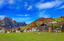 Stad av Engelberg i Schweiz Royaltyfri Foto