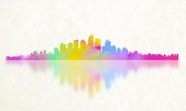 Stad av färgreflexionen Arkivfoton