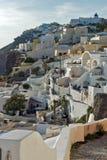 Stad av Fira, Santorini, Thira, Cyclades öar Royaltyfri Fotografi