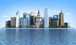 Stad av floden Arkivbild