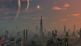 Stad av främlingar, två månar och gryningen stock illustrationer