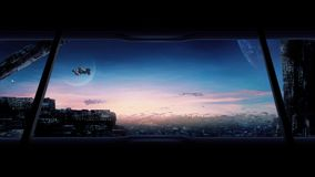 Stad av framtiden med flygbilar och rymdskepp