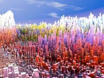 Stad av framtiden, skyskrapor, science Arkivfoton