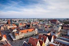 Stad av fyrkanten för Wroclaw den gamla stadmarknad Fotografering för Bildbyråer
