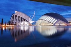 Stad av hemisferic futuristisk modern byggnad för konster och för vetenskaper, Valencia, Spanien, Europa royaltyfri fotografi