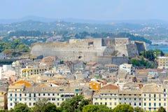Stad av Kerkyra, flygbild av townen med den nya fästningen Royaltyfria Foton