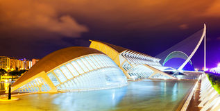 Stad av konster och vetenskaper i natt. Valencia royaltyfria foton