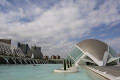 Stad av konster och vetenskaper, - L 'Hemisfèric - vid Santiago Calatrava, Valencia, Spanien arkivbild