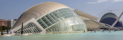 Stad av konster och vetenskaper, - L 'Hemisfèric - vid Santiago Calatrava, Valencia, Spanien royaltyfri fotografi