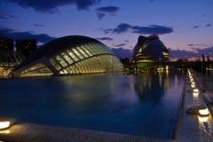 Stad av konster och vetenskaper på skymning, Valencia, Spanien arkivbilder