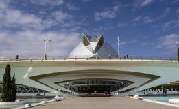 Stad av konster och vetenskaper, - palauisk de les Konst Reina SofÃa - en operahus och kulturbyggnad vid Calatrava, Valencia, Spa royaltyfri bild