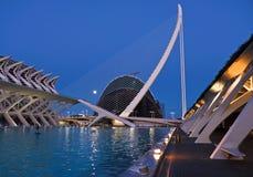 Stad av konster och vetenskaper som är komplexa vid natten, Valencia royaltyfri bild