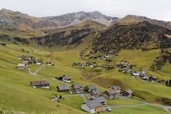 Stad av Malbun i Lichtenstein Arkivfoton