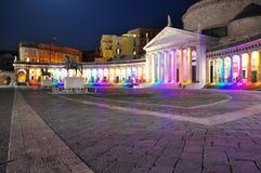 Stad av Naples, piazza Plebiscito på natten arkivfoton
