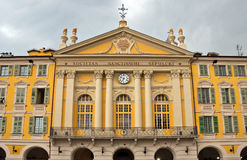Stad av Nice - arkitektur av stället Garibaldi i Vieille Ville Arkivfoto