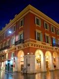 Stad av Nice - arkitektur av stället Massena på natten Royaltyfri Fotografi