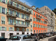 Stad av Nice - arkitektur längs Promenade des Anglais Arkivbilder