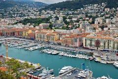 Stad av Nice - flyg- sikt av porten de Nice Fotografering för Bildbyråer