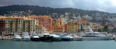 Stad av Nice, Frankrike - hamn och port Arkivfoto