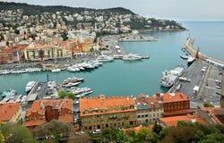 Stad av Nice - sikt av Port de Nice Arkivbild