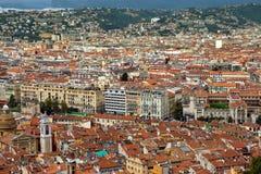 Stad av Nice - sikt av staden från över Royaltyfri Bild