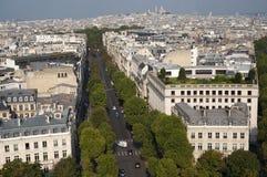 Stad av Paris från bågen de Triumfera Royaltyfria Bilder