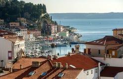 Stad av Piran, Adriatiskt hav, Slovenien Arkivbilder