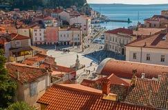 Stad av Piran, Adriatiskt hav, Slovenien Fotografering för Bildbyråer