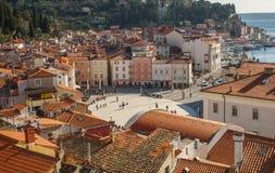 Stad av Piran, Adriatiskt hav, Slovenien Arkivfoto