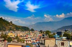Stad av Pokhara, Nepal Arkivfoto