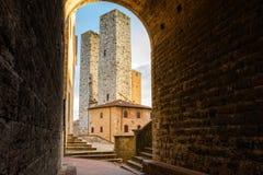 Stad av San Gimignano Fotografering för Bildbyråer