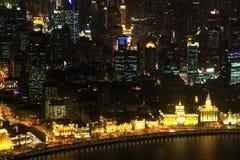Stad av Shanghai på natten. Kina Royaltyfria Foton