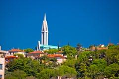 Stad av sikten för Rijeka kullekyrka Royaltyfria Bilder