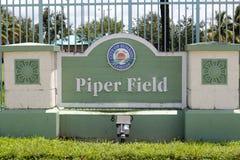 Stad av soluppgång Florida, Piper Field Sign Royaltyfri Fotografi