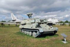 Stad av Togliatti Tekniskt museum av K G sakharov Utställning av den luftvärns- Shilka för museum självgående pjäsvärnet 3SU-23- Arkivbilder