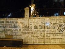 STAD AV TOLERANS LISSABON, PORTUGAL Arkivbilder