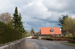 Stad av Vaeggerloese i Danmark Arkivfoto