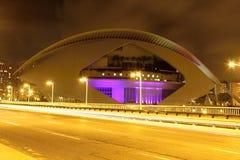 Stad av Valencia på natten, Spanien Fotografering för Bildbyråer
