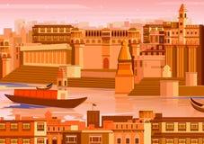 Stad av Varanasi i Indien vektor illustrationer