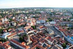 Stad av Vilnius Litauen, flyg- sikt Arkivbild