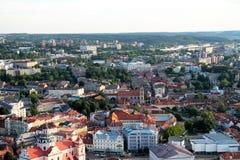 Stad av Vilnius Litauen, flyg- sikt Royaltyfri Fotografi