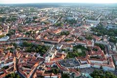 Stad av Vilnius Litauen, flyg- sikt Arkivbilder