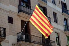 Stad Barcelona, flagga av Catalonia Royaltyfria Foton