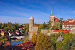 Stad Bautzen in Hogere Lusatia Stock Foto's