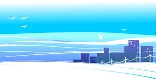 Stad bij het overzees (achtergrond) stock illustratie
