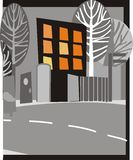 Stad bij nacht stock illustratie